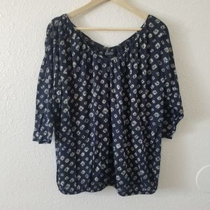 Lucky Brand Blue Shibori Top